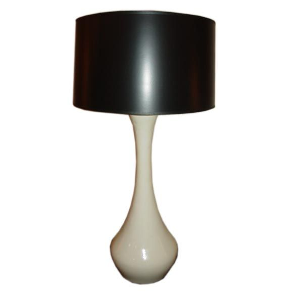 Large 1960s White Ceramic Swan Neck Lamp