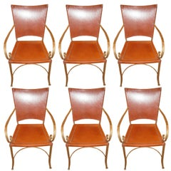 Six Chic Leather & Iron Framed Chairs