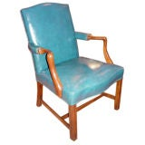 English Chinese Chippendale Leather/Mahogany Arm Chair