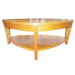 Unusual Light Oak 1950s Coffee Table