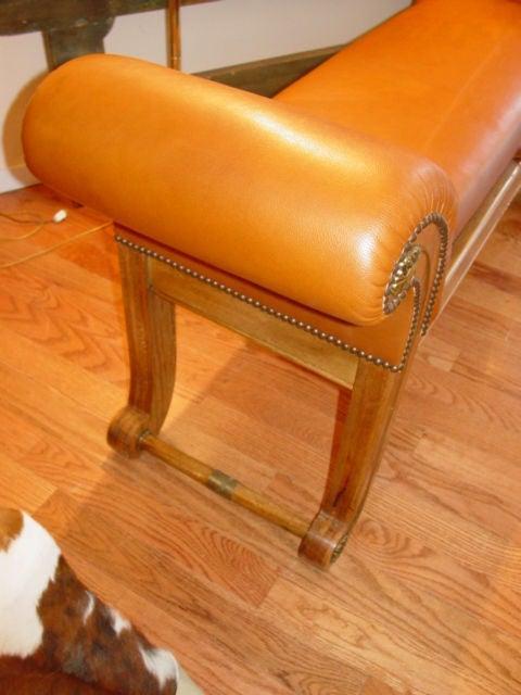 Shapely Light Mahogany Leather Bench At 1stdibs