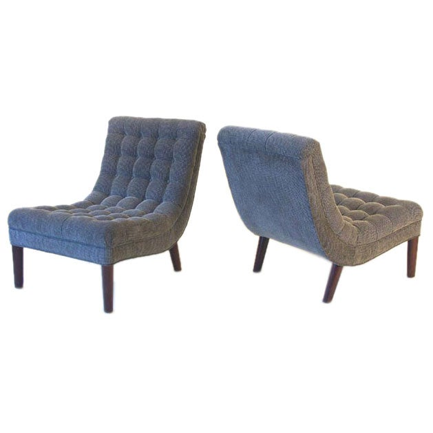 Lost City Arts Custom Tufted Slipper Chairs