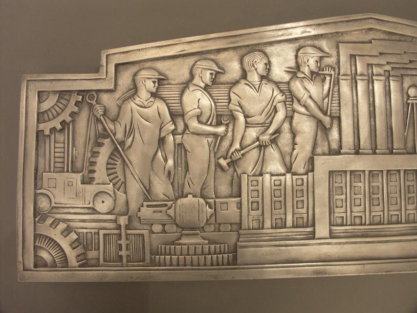 American Recasting of a Classic Machine Age Plaque For Sale