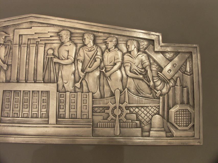 If you appreciate the Machine Age era, you'll love this recasting in bonded aluminium of an incredible architectural artifact. The original plaque was found above the entrance doors of the Con Edison Substation #1, in Brooklyn, N.Y. Strong WPA
