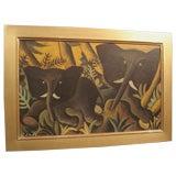 Hans Scherfig Early Elephants Painting, Denmark 1938