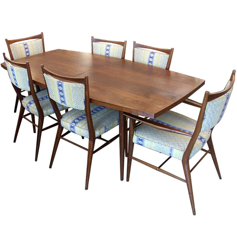 Beautiful walnut paul mccobb dining set with 6 chairs at for Beautiful dinette sets