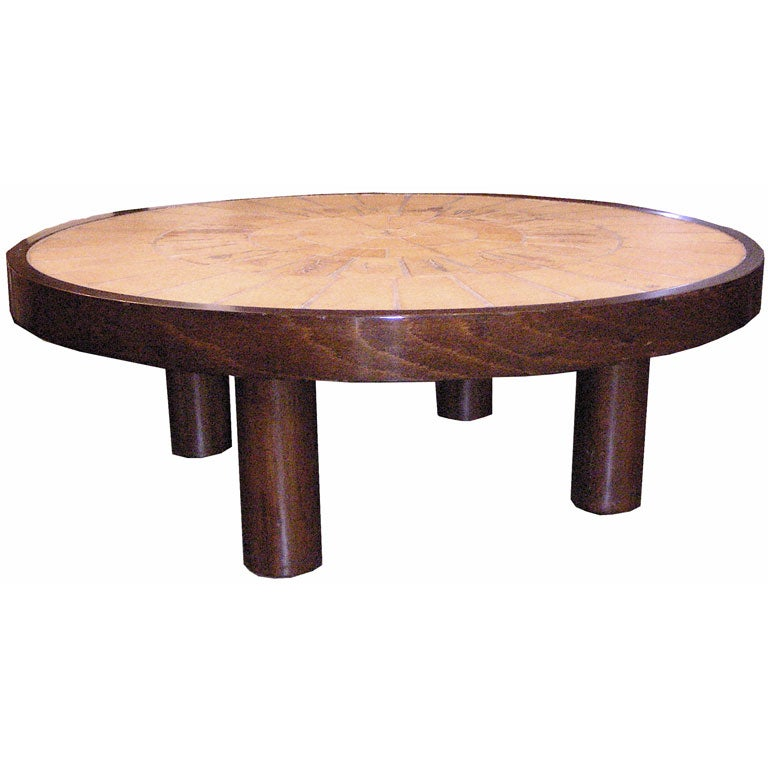 Wood Column Leg : Circular ceramic and wood coffee table by r capron