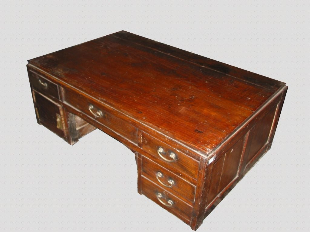 Scholar Desk W Drawers And Original Brassware At 1stdibs