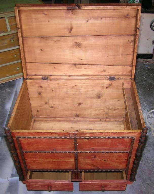 Painted Hope Chest, Blanket Box, Dowry Chest with Drawers For Sale