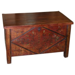 Painted Hope Chest circa 1855 with Original Paint
