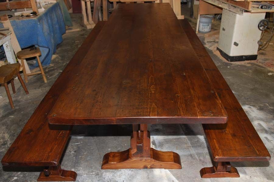 These trestle table and benches, built by PETERSEN ANTIQUES, are made from recycled antique Nordic heart pine. The table shown here is 12' long 3.5' wide but we can make any size! Benches shown are 144 x 14 x 18 inches;  Because each table is