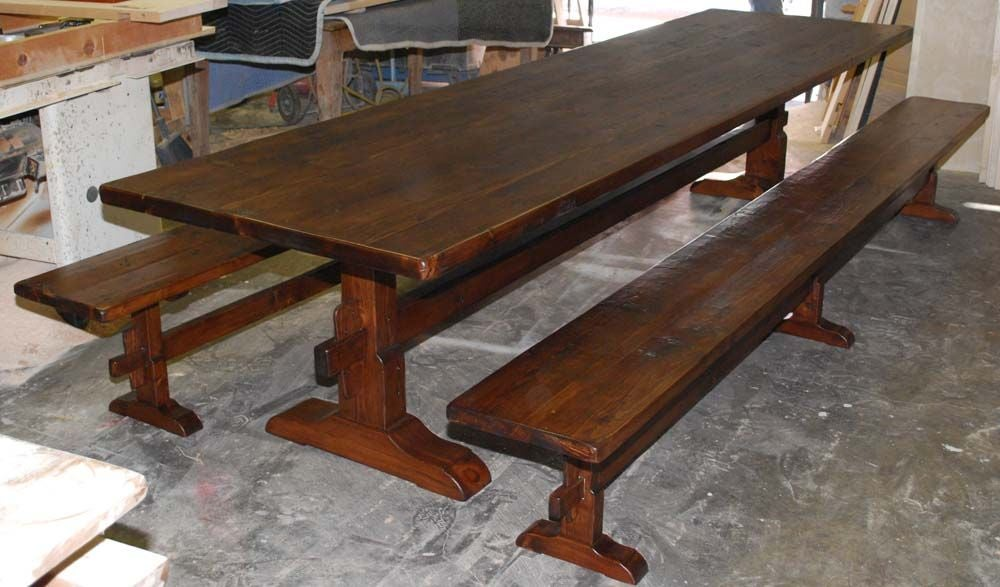 Trestle Table and Benches Made from Reclaimed Antique Pine  : tt2bb from www.1stdibs.com size 1000 x 587 jpeg 87kB