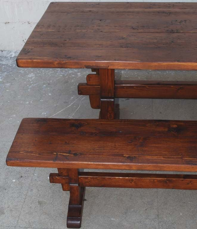 Trestle Table/Benches in Reclaimed Pine, Custom Made by Petersen Antiques In Excellent Condition For Sale In Los Angeles, CA