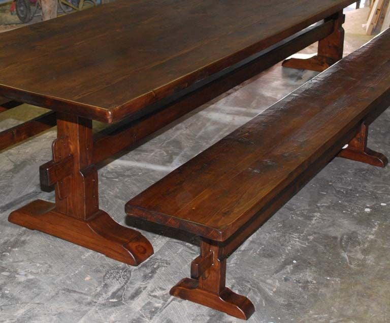 Contemporary Trestle Table/Benches in Reclaimed Pine, Custom Made by Petersen Antiques For Sale