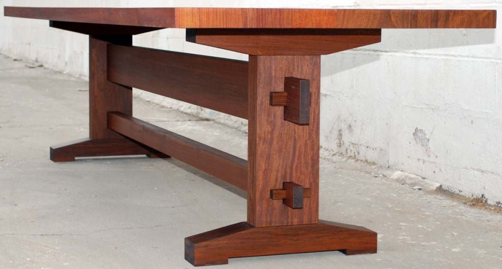American Outdoor Dining Table in Solid Ipe' Wood, Custom Made by Petersen Antiques For Sale