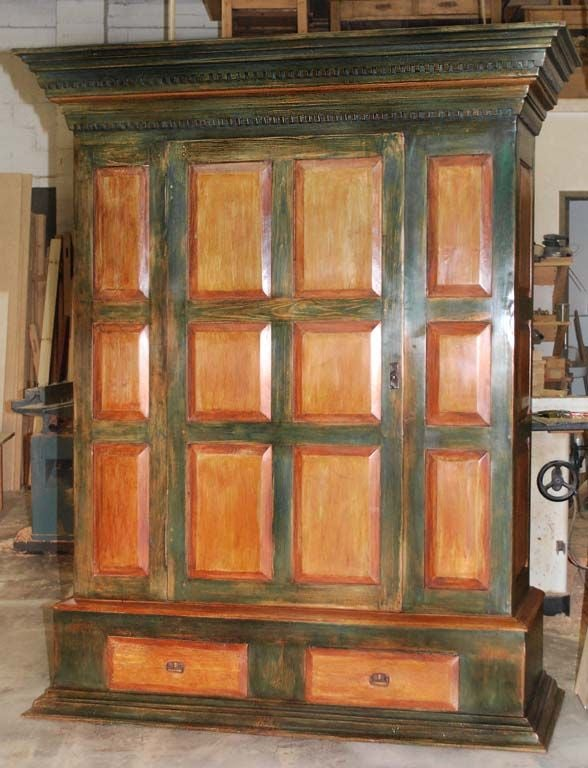 Baroque Large Painted Armoire For Sale