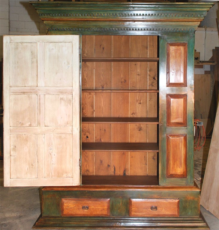 Latvian Large Painted Armoire For Sale