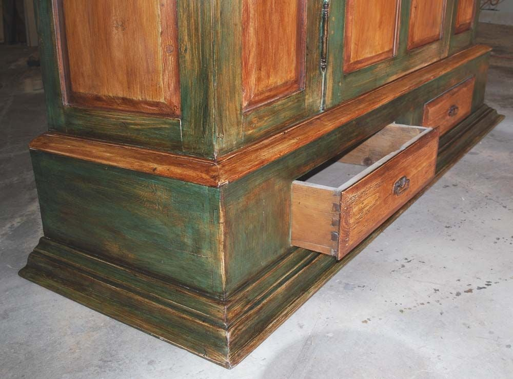 Reclaimed Wood Large Painted Armoire For Sale