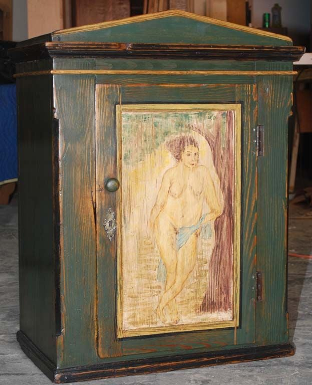 Latvian Folk Art Painted Wall Cabinet For Sale