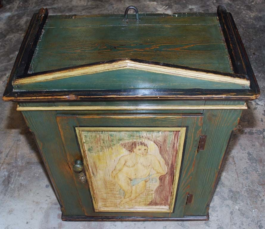 Folk Art Painted Wall Cabinet In Distressed Condition For Sale In Los Angeles, CA