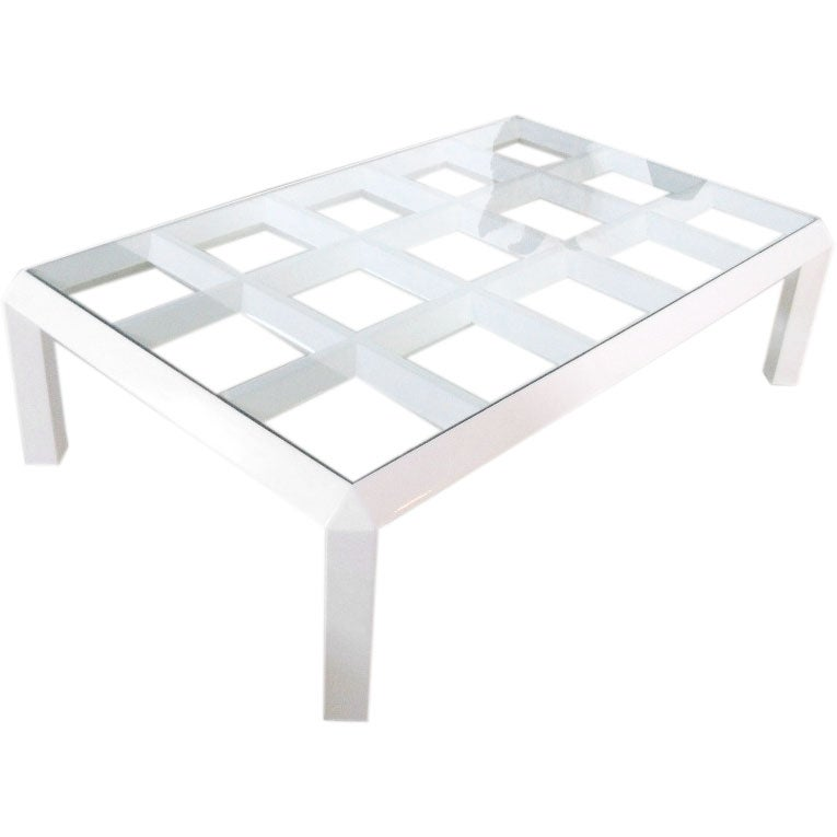White Lacquer Geometric Coffee Table At 1stdibs