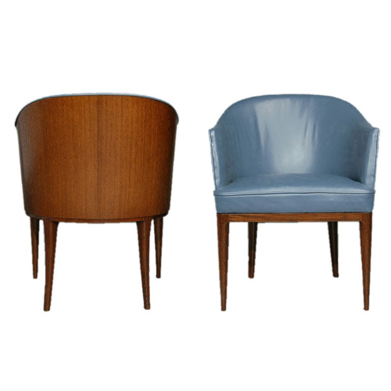 Pair of blue leather and exotic wood barrel chairs at 1stdibs