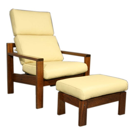 Brazilian Wood And Pale Yellow Leather Chair Ottoman For