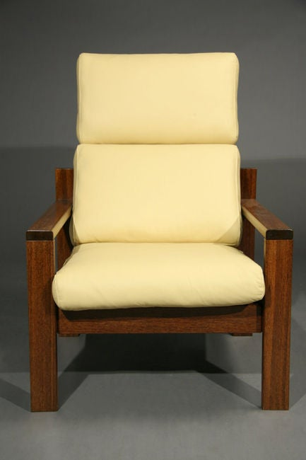 Brazilian Wood And Pale Yellow Leather Chair And Ottoman