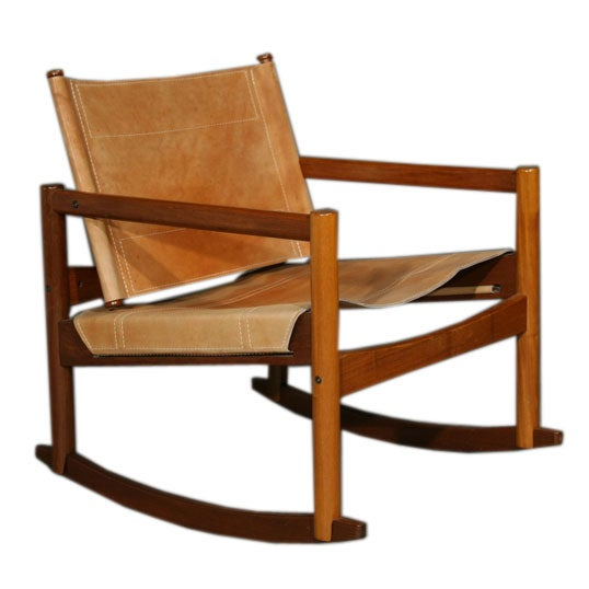 Stitched Leather Sling Rocking Chair By Michel Arnoult At