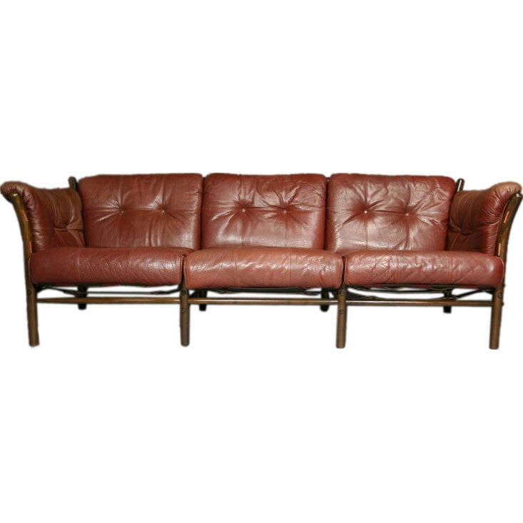 red leather sarafi sofa by arne norell at 1stdibs. Black Bedroom Furniture Sets. Home Design Ideas