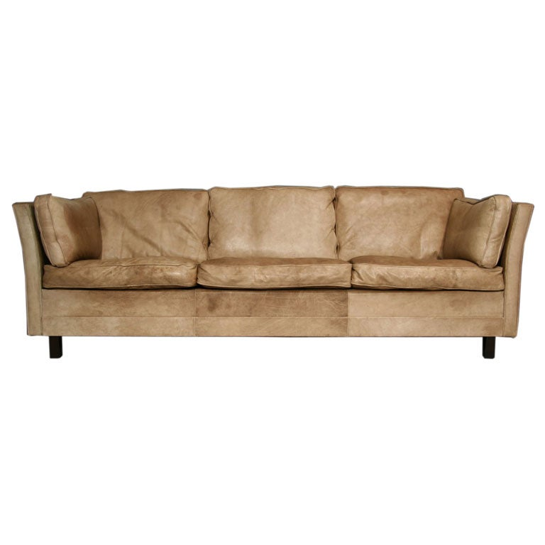 Curved Sofa Sectional Leather: Curved Leather Scandinavian Tuxedo Sofa At 1stdibs