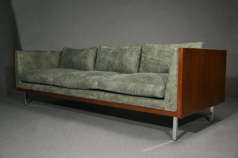 Distressed Green Leather Walnut Case Sofa At 1stdibs