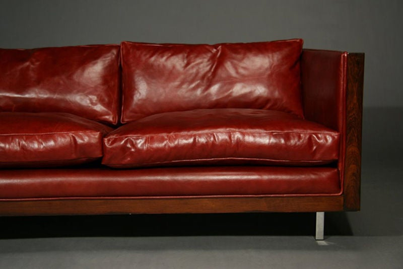 Rosewood and red leather case sofa by Milo Baughman image 3