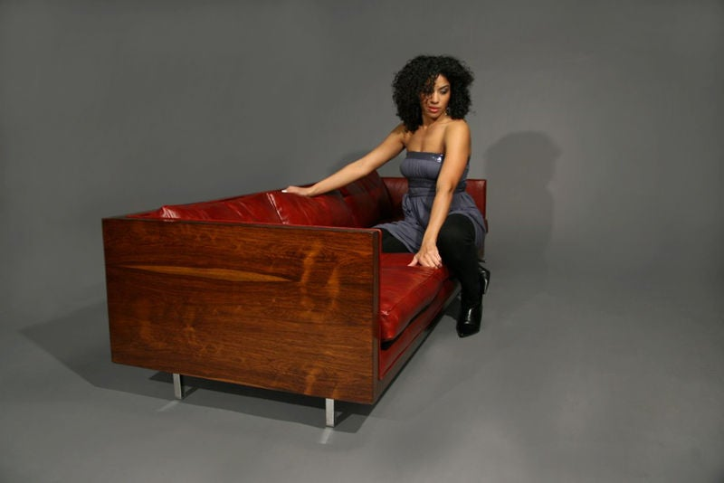 Rosewood and red leather case sofa by Milo Baughman image 5