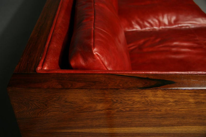 Rosewood and red leather case sofa by Milo Baughman image 8