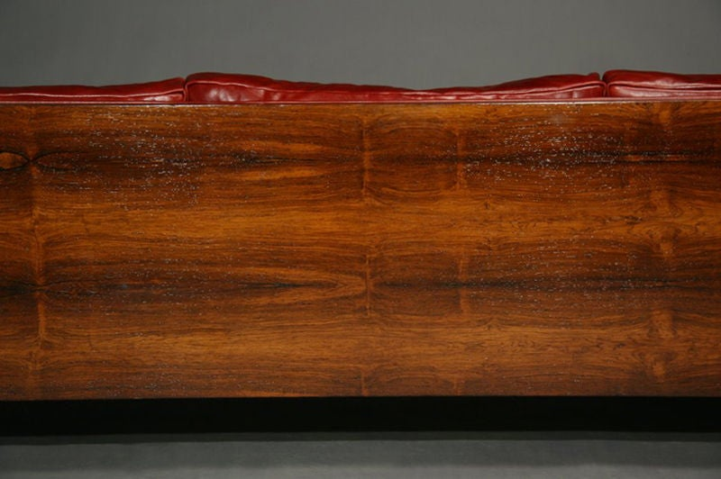 Rosewood and red leather case sofa by Milo Baughman image 10