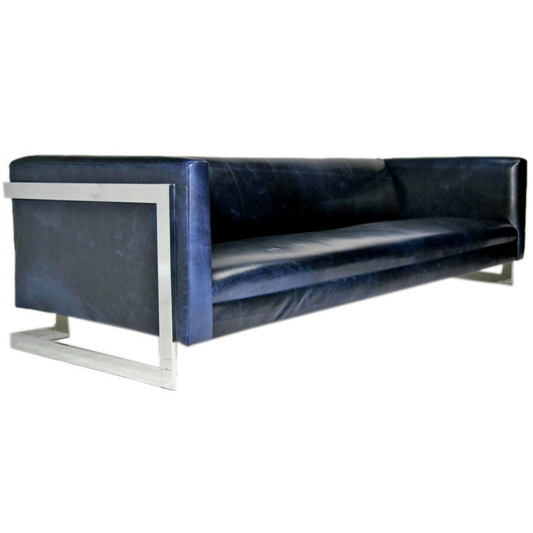 Cantilevered Sofa In Navy Leather By Milo Baughman At 1stdibs