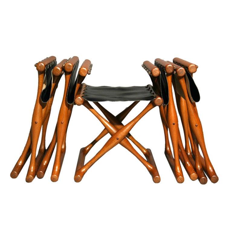 Set Of Five Folding Stools By Poul Hundevad At 1stdibs