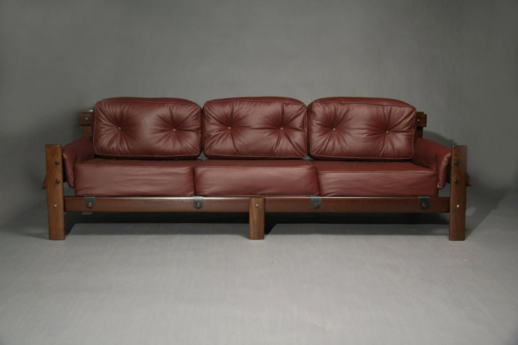 Brazilian Plum Leather And Exotic Wood Sofa At 1stdibs