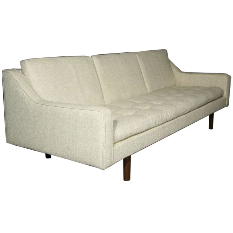 Nubby Cream Silk Sofa With Walnut Legs At 1stdibs