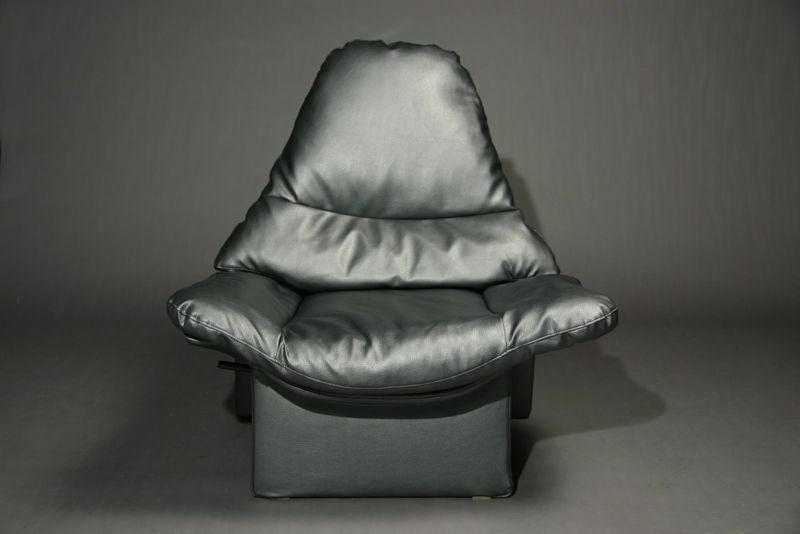 Overstuffed metallic gray lounge chair and ottoman at 1stdibs