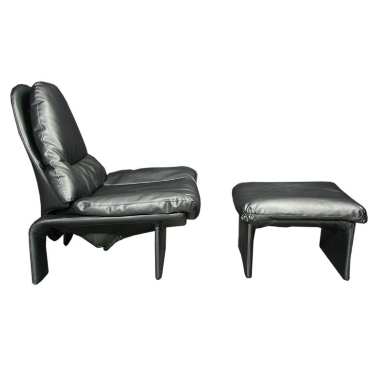 Overstuffed metallic gray lounge chair and ottoman at 1stdibs