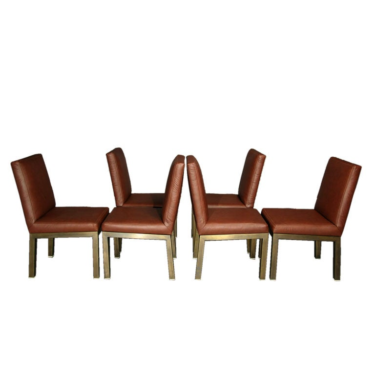 Set Of Six Plum Leather Dining Chairs