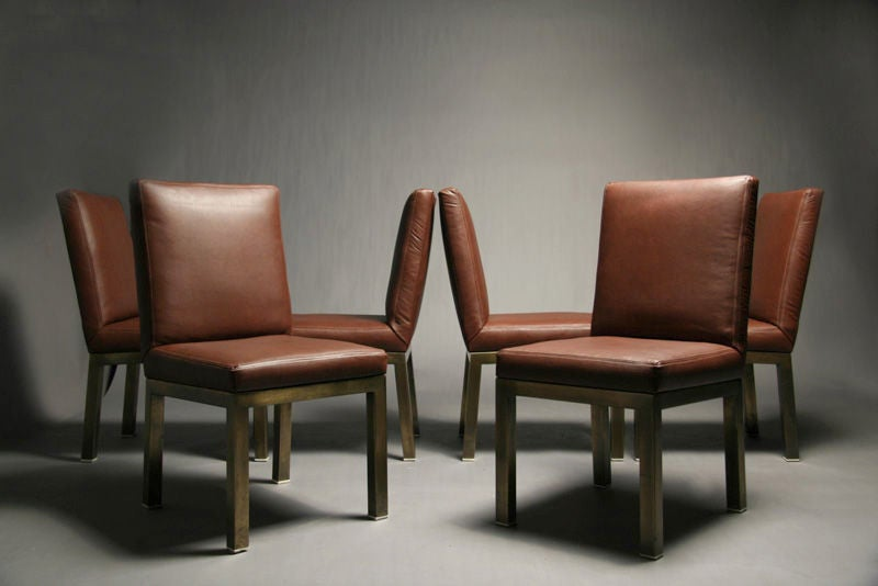 Set Of Six Plum Leather Dining Chairs image 2