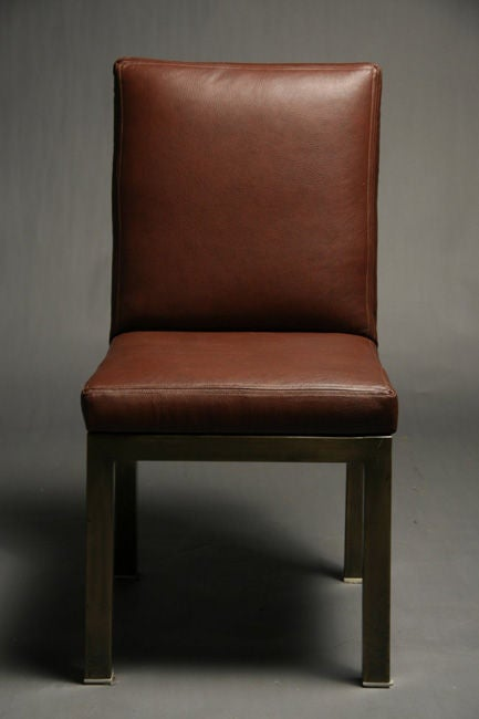 Set Of Six Plum Leather Dining Chairs image 3