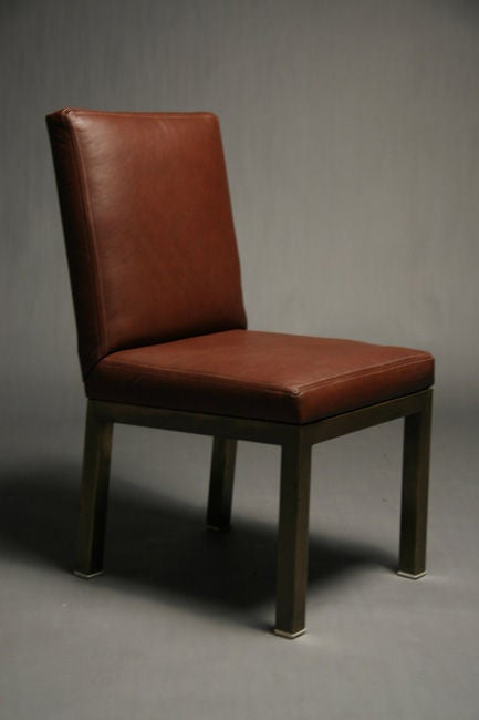 Set Of Six Plum Leather Dining Chairs image 4