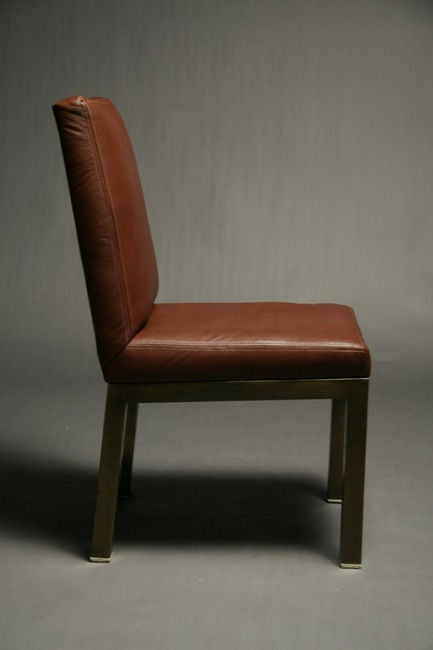 Set Of Six Plum Leather Dining Chairs image 5
