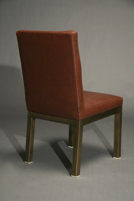Set Of Six Plum Leather Dining Chairs 6