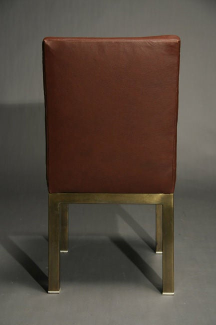 Set Of Six Plum Leather Dining Chairs image 7