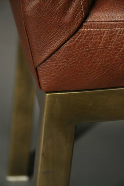 Set Of Six Plum Leather Dining Chairs image 8